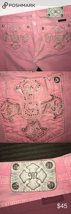 Miss me pink Jean capris Miss me jean capris they are factory distressed and a beautiful baby pink ... back pockets are gorgeous they have plenty of bling but soft playing they're perfect for summer weather !!!' Miss Me Jeans