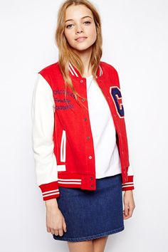 10 Sporty, Street-Style Looks To Try Outside The Gym #refinery29  http://www.refinery29.com/sporty-style#slide3  White Chocoolate Varsity Jacket, $186.26, available at ASOS.