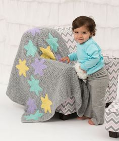 Twinkle Stars Baby Blanket Free Crochet Pattern from Red Heart Yarns