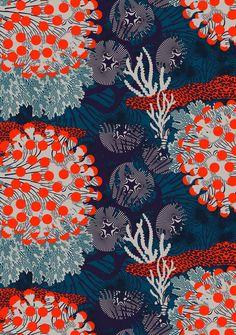 Graphic Design - Pattern Design - Tissus Marimekko Merivuokko Pattern Design : – Picture : – Description Tissus Marimekko Merivuokko -Read More – Art And Illustration, Pattern Illustration, Illustrations, Motifs Textiles, Textile Patterns, Textile Prints, Print Patterns, Lino Prints, Block Prints