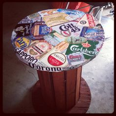Created a side table out of a wire rope reel for our beer tasting party.