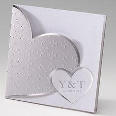 Huwelijksuitnodiging met zilveren hart - passend bij de zilveren trouwjurk van de najaarstrend van 2015