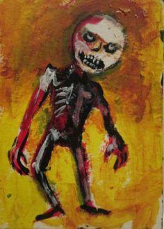 """Post Postmortem #962 zombie, horror, outsider art jack larson 3.5""""x2.5"""" art card"""