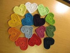 Another Ravelry member's crochet hearts (in fun rainbow shades) ready to assemble into a garland. There's a finished photo of the garland but it's not the best quality image.