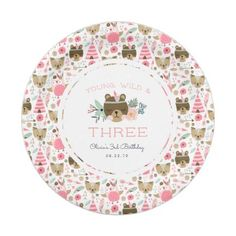 Young Wild & Three Birthday Party Paper Plate - animal gift ideas animals and pets diy customize