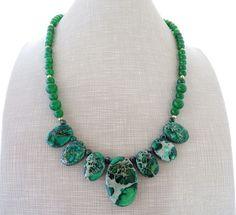 Jasper necklace green bib necklace emerald jade by Sofiasbijoux