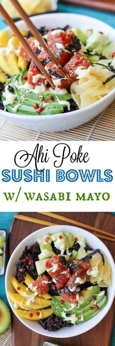 Ahi Poke Sushi Bowls with Wasabi Sauce - Food and Drinks Ideas Healthy Asian Recipes, Sushi Recipes, Seafood Recipes, Cooking Recipes, Poke Sushi Bowl, Wasabi Sauce, Ahi Poke, Carb Cycling Diet, Japanese Diet