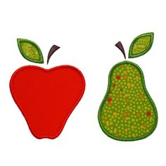 "Apples and Pears Appliques Machine Embroidery Designs Applique Patterns in 4 sizes 3"", 4"", 5"" and 6"" by BigDreamsEmbroidery on Etsy https://www.etsy.com/uk/listing/45451102/apples-and-pears-appliques-machine"
