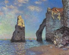 The Cliffs at Étretat by Claude Monet in oil on canvas, done in Now in The Sterling and Francine Clark Art Institute. Find a fine art print of this Claude Monet painting. Claude Monet, Famous Impressionists, Falaise Etretat, Monte Everest, Framed Art Prints, Canvas Prints, Monet Paintings, Impressionist Artists, Beach Art