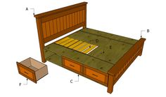 bed frame designs | Building a bed frame with drawers