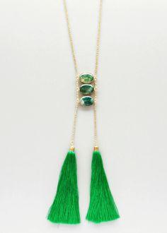 Emerald Quartz & Silk Tassels Necklace – Pree Brulee