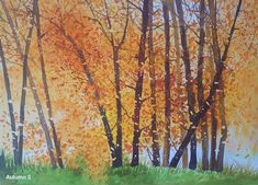 """Autumn 5"" Watercolor by Gabriela Calinoiu www.galeriagabriela.wordpress.com Pictura cu peisaj de toamna. Wordpress, Watercolor, Autumn, Artist, Pen And Wash, Watercolor Painting, Watercolour, Fall, Watercolors"