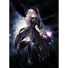 anime girl dark angel magic lolita wings boots darkness