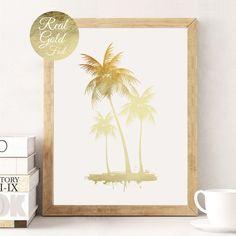 Poster mit goldenen Palmen für den Sommer, Wandgestaltung, Plakat / art print with golden palm trees for summer, wall decoration made by Schöne Dekor via DaWanda.com