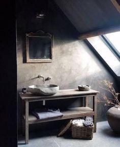 ZIEN: wabi-sabi wordt dé interieurtrend van 2018 volgens Etsy - Home DIY Idea Rustic Bathroom Designs, Bathroom Design Luxury, Rustic Bathrooms, Interior Design Kitchen, Modern Interior Design, Luxury Bathrooms, Bath Design, Bathrooms Decor, Grey Bathrooms
