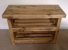 Shoe rack storage bench with seat light oak wooden wood furniture rustic timber