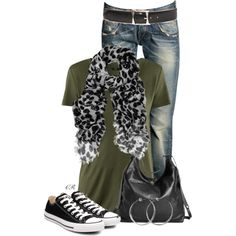 """Converse, Jeans and a Scarf"" by colierollers on Polyvore"