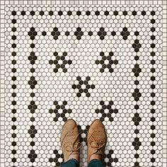 Vintage Bathroom Floor, Vintage Bathrooms, Bathroom Floor Tiles, Vintage Tile Floor, 1930s Bathroom, Downstairs Bathroom, Penny Tile Floors, Linoleum Flooring, Vinyl Flooring