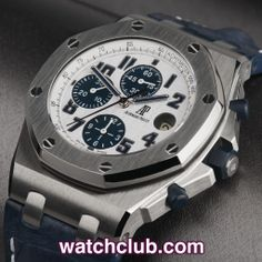 AUDEMARS PIGUET Royal Oak - 42mm 'Navy' REF: 26170ST.OO.D305CR.01   Year Oct 2010 - Officailly discontinued this year, this Royal Oak 'Navy' Offshore ref.25170ST has always been one of the most popular in the range. Sporting a crisp white mega tappisserie dial with distinct blue sub dials, this model features blue rubber chrono pushers and screw down winding crown - for sale at Watch Club, 28 Old Bond Street, Mayfair, London