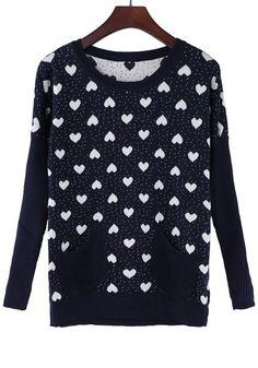 Blue Love Polka Dot Print Pockets Sweater