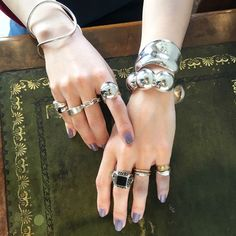image Hands With Rings, Jewelry Accessories, Fashion Accessories, Floral Hoops, Blush Roses, Body Jewelry, Jewellery, Bangles, Jewels