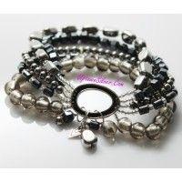 Silpada Artisan Jewelry Gray Black Hailstone Hematite Glass 925..