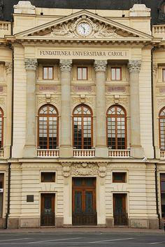 București (Bucharest, Romania) - Palatul Fundaţiei Regale Carol I (University Library) Neoclassical Architecture, Baroque Architecture, Futuristic Architecture, Beautiful Architecture, Beautiful Buildings, Architecture Design, Arch Building, Sims Building, Building Design