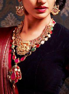 indian gold jewellery, diamond jewellery, temple jewellery, antique jewellery, ruby and emerald jewellery collection India Jewelry, Temple Jewellery, Ethnic Jewelry, Antique Jewelry, Indian Wedding Jewelry, Bridal Jewelry, Indian Bridal, Ruby Necklace, Gemstone Necklace