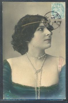 PZ005-ARTIST-STAGE-STAR-BEAUTIFUL-LADY-JEWEL-NECKLACE-Tinted-PHOTO-pc-1905-NPG