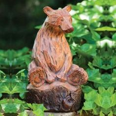 New Creative Forest Friends Wood Carved Bear Statue Dremel, Bear Statue, Outdoor Garden Statues, Wooden Statues, Forest Friends, Garden Ornaments, Tree Art, Wood Crafts, Hand Carved