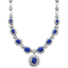Royalty Inspired by Effy Sapphire (4-3/8 ct. t.w.) and Diamond (1-2/3... ($10,000) ❤ liked on Polyvore featuring jewelry, necklaces, sapphire, white gold jewellery, white gold necklace, sapphire diamond necklace, sapphire jewelry and sapphire necklace