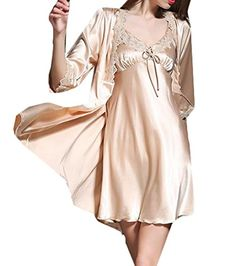 acb59d74df3 Womens Sexy Silk Soft Half Sleeve Robe Nightgown Set Homewear     You can  find out more details at the link of the image.(It is Amazon affiliate  link)   ...