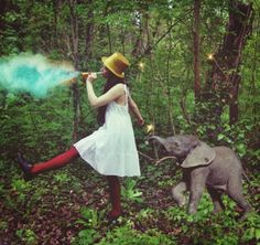 Elephant and red tights and yellow hat!