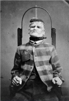 ca. 1869, [Patient in restraint chair at the West Riding Lunatic Asylum, Wakefield, Yorkshire], Henry Clarke