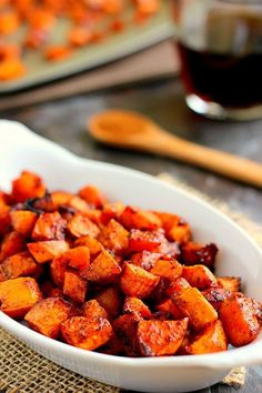 These Roasted Maple Cinnamon Sweet Potatoes, seasoned with cozy flavors and roasted to crispy perfection on the outside and soft on the inside! I added toasted pecans and dried cranberries as a topping, Mmmmmm good! Side Dish Recipes, Vegetable Recipes, Side Dishes, Vegetarian Recipes, Cooking Recipes, Healthy Recipes, Cooking Vegetables, Maple Syrup Recipes, Sweet Potato Cinnamon