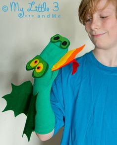 No Sew Dragon Sock Puppet (free printable pattern) from My little 3 and Me