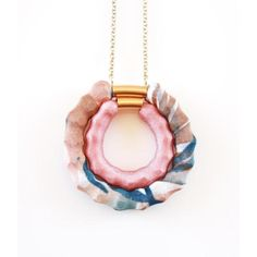 Medals Beads - Print Blue \ Brown With Pink