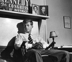 A young John F. Kennedy running for Congress in 1946.