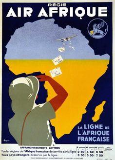 ROQUIN Régie Air AfriqueROQUINLa Ligne de l'Afrique Française.Chaix Paris 19351 Affiche Non-Entoilée B.E. B +66 x 48 cm - Art Richelieu - 21/03/2015