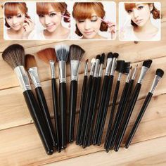 $11.02 16PCS Professional Cosmetic Tool Leather Bag with Full Range of Brushes - Black