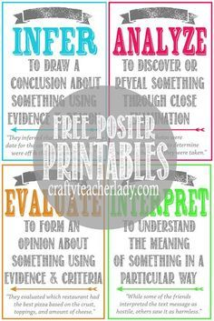 Free set of printable CRITICAL THINKING SKILLS Posters! Great for any secondary classroom! They come in two sizes!