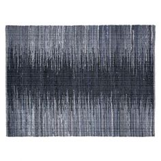 Stamfrey Large Black Recycled Fabric Rug: This Ombré design rug is used to separate my living room side from my dining room area. The black, grey and blue tones fade into each other to create a stunning effect, from Habitat (product code: Affiliate. Fabric Rug, Recycled Fabric, Blue Tones, Small Rugs, Soft Furnishings, Rug Runner, House Colors, Habitats, Home Accessories