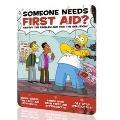 """Metal Sign The Simpsons """"First Aid"""" Security Collection 9 Decor Wall Art Rusted Health And Safety Poster, Safety Posters, Safety Quotes, Safety Slogans, Running Cartoon, Cartoon Tv, Simpsons Funny, The Simpsons, First Aid Poster"""