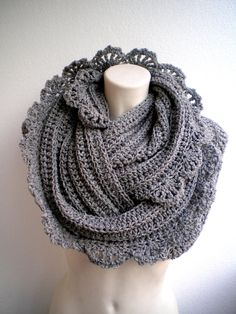 SALE Beautiful  Crocheted Cowlnwck soft Tweed Wool Circle Scarf Woman Circle Scarf. $75.00, via Etsy.