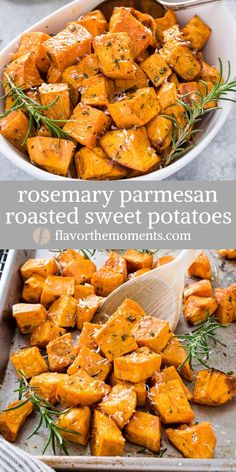 Rosemary Parmesan Roasted Sweet Potatoes are a quick and easy savory sweet potat. - Rosemary Parmesan Roasted Sweet Potatoes are a quick and easy savory sweet potato recipe that makes - Savory Sweet Potato Recipes, Sweet Potato Side Dish, Potato Side Dishes, Veggie Dishes, Food Dishes, Potato Sides, Easy Sweet Potato Recipe, Recipes With Sweet Potatoes, Lasagna Side Dishes