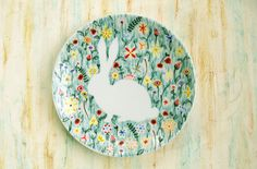 Beautiful bunny silhouette plate