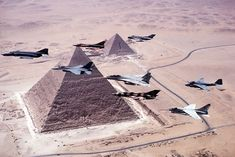 US and Egyptian aircraft over the Pyramids during Exercise Bright Star 83 [2830 x 1890]