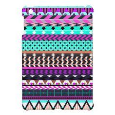 Cyan Magenta Aztec Pattern iPad Mini Cases