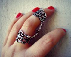 silver slave ring, armor ring connected rings, ring set, filigree ring, vintage style ring. $24.00, via Etsy.