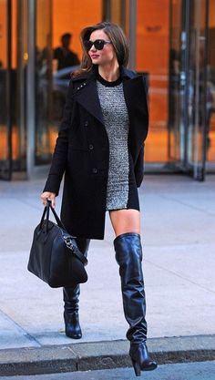 Miranda Kerr wearing Black Sunglasses, Black Leather Over The Knee Boots, Black Leather Tote Bag, Black Coat, and Grey Wool Bodycon Dress